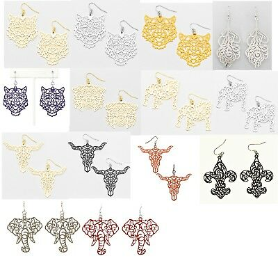 Metal Scroll Laser Cut Mascot Earrings Dangle Wire Lots of Colors Mascots