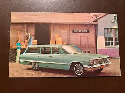 1963 Chevrolet Impala Station Wagon original vintage Chevy Dealer postcard