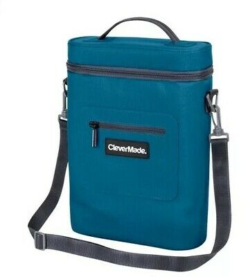CleverMade Wine Bottle and 6 Pack Cooler Bag; Insulated Tote with Removable Ice