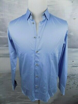 965403f7c  165 NWT Ted Baker London LS Plain Stretch Shirt Light Blue Size 4 Large