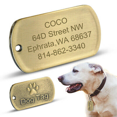 Personalized Dog ID Tags Military Custom Pet Paw Print Tag Engraved Name Golden