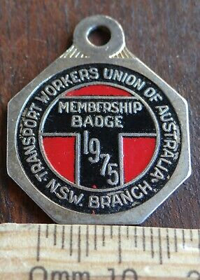1 x 1975 NSW TRANSPORT WORKERS UNION MEMBERSHIP BADGE No 2987