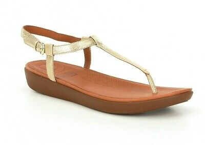 d6993ade5 FitFlop Tia Toe Thong Sandals Women s Size 11 Pale Gold Metallic Leather  Buckle