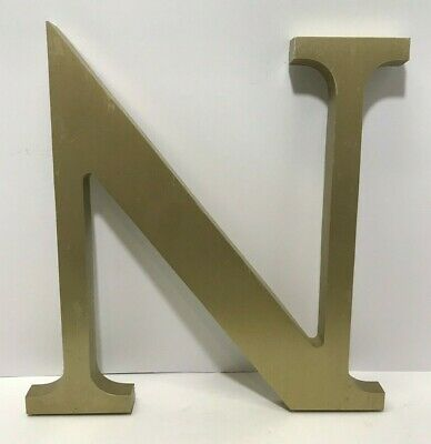 "Vintage 1950's Letter N Outdoor Cast Aluminum Metal 14"" Industrial Salvage Sign"