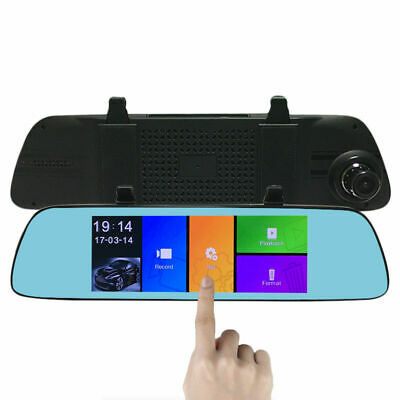 "Full 7""Dual Lens 1080P Touch Screen Car Rearview Mirror DVR Camera Night Vision"
