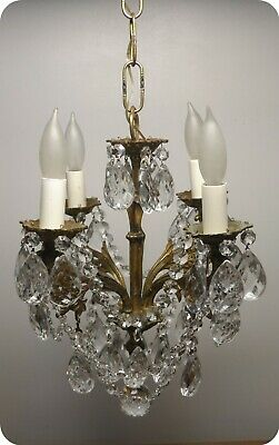 Antique Vtg Brass French Petite Chandelier Czech Crystals Chain And Prisms