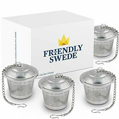 The Friendly Swede Infusor de Té en Acero Inoxidable (Pack de 4 (Plateado)