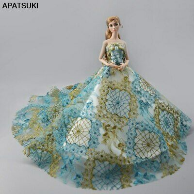 "Blue Brown High Fashion Wedding Dress for 11.5"" Doll Clothes 1/6 Evening Dresses"