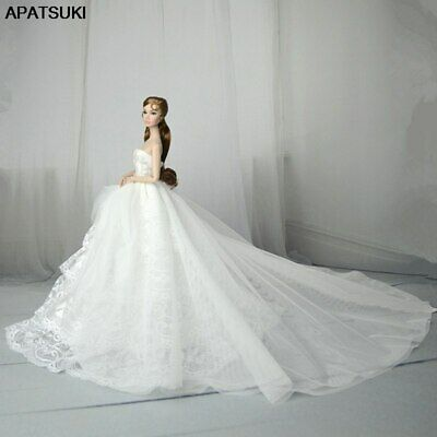 "White Lace Handmade Wedding Dress For 11.5"" Doll Outfits Party Ball Long Gown"