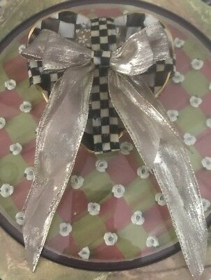 NWT Mackenzie Childs Ceramic Heart Fluted Dish~ Complete W Ribbon & Soap Gift