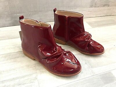 Zara Girls Ankle With Zip Boots Patent Finish with Bow Size US 2/EU 34 Burgundy