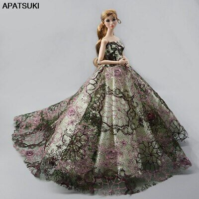 Black High Fashion Wedding Dress for 11.5in. Doll Clothes Princess Evening Dress