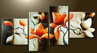 Framed Large Wall Art Contemporary Flower Abstract Oil Painting on Canvas Decor