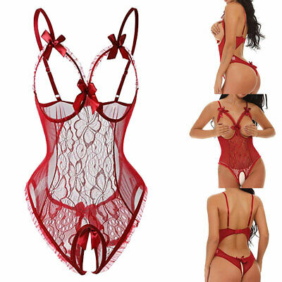 Women Sexy Lingerie Lace Open Bra Crotchless G-string Underpant Erotic Nightwear