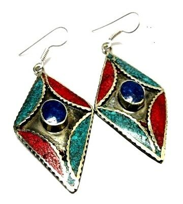 Silver Plated Earring Tibetan Turquoise Lapis Lazuli & Red Coral