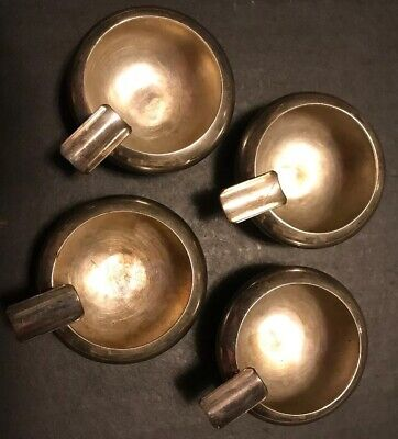 Vintage Set Of Four (4) Koret Ciro ~ Argentina ~ Palm Ash Trays ~ Silver Plated