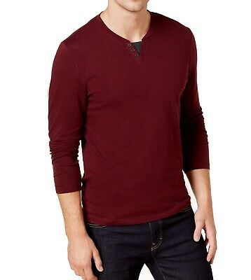 85c19bc64 ALFANI NEW RED Port Mens Size Small S Henley Long Sleeve Tee T-Shirt ...