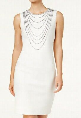 be1d3b9d Calvin Klein NEW White Womens Size 6 Embellished Studded Sheath Dress $139  338