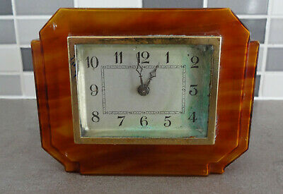 Vintage Celluloid Marble Effect Mantel Clock Spares/repairs !!!!