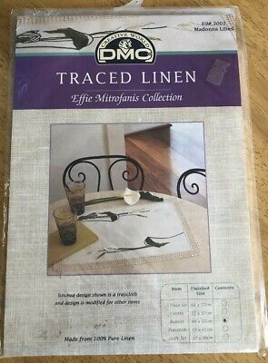 DMC Traced Linen Embroidery - Runner - Madonna Lilies - New