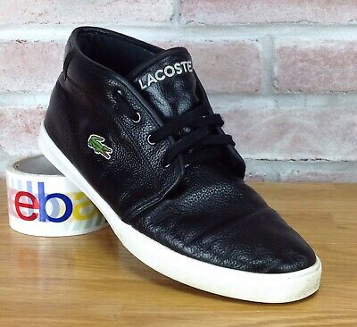 c83a616a7 Lacoste Ampthill Mens Size 9 Black Pebbled Leather Shoes MidTop Sneakers EU  42