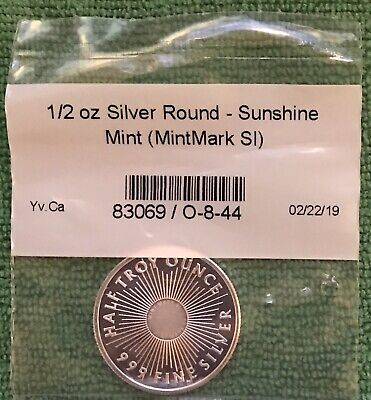 1/2 Troy oz Sunshine Minting .999 Fine Silver Round Mint Mark SI