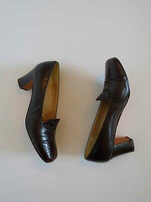 Chocolate Brown Leather Vintage Pumps With Faux Snake Effect - Size 9B