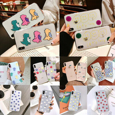 For Apple iPhone XS Max XR X 8 6s 7+ Transparent Cartoon Pattern Soft Case Cover