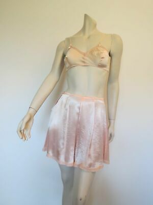 Pink Satin Tap Pants, French Knickers - 1940s - Medium