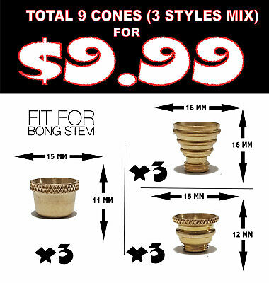 9 X Cone Pieces Brass cones metal smoking pipe - bonza cone for bong water pipe