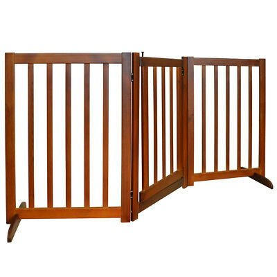 CANIS - 3 Section Solid Wood Folding Pet Gate with Door - Brown LS18101