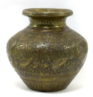 Rare Antique Holy Water Pot Brass Peacock Figure Carved Old Brass Pot. G56-4 UK