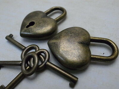 (Lot of 2) Old Antique Style Small Padlock With Keys--Antique Bronze Color