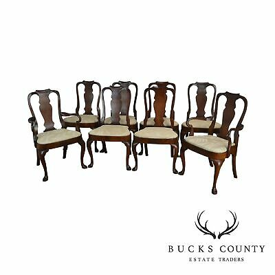 Hickory Chair Co. Company Mahogany Set 8 Queen Anne Dining Chairs