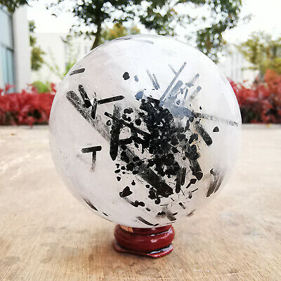 541G Natural black Hair Rutilated Tourmaline quartz crystal sphere ball Healing