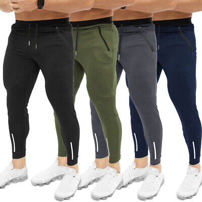 Mens Gym Slim Fit Trousers Tracksuit Bottoms Skinny Joggers Sweat Track Pants AU
