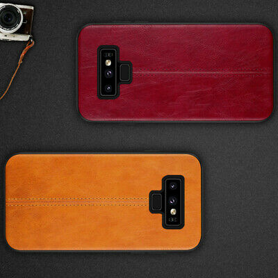 For Samsung Galaxy Note 9 8 Retro Leather Design Soft TPU + PC Back Case Cover