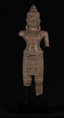 """Antique Khmer Stone Mounted Angkor Wat Style Temple Guardian - 105cm / 42"""""""