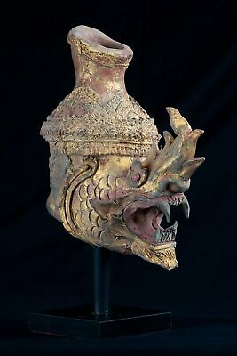 19th Century Antique Mounted Clay Thai Dragon Head - 29cm/12""