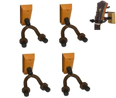 4-Pack Guitar Bass Banjo Violin Mandolin Hanger Hook Holder Wall Mount Wood Iron