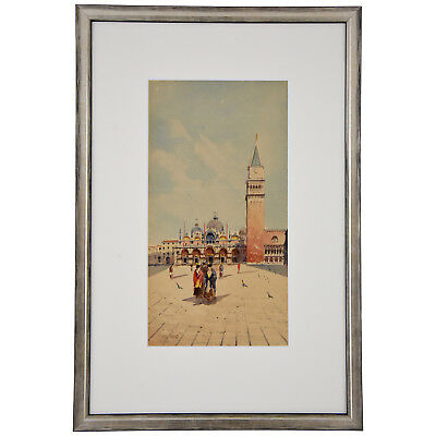 Watercolor of Venice women at San Marco Sattio Italy 1900 framed