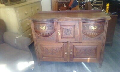 Antique Victorian Mahogany Highly Carved Sideboard