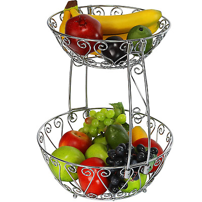 Wrought IRON FRUIT BASKET 2 Tier Wire Metal Tiered Bowl with Chrome Vintage Look