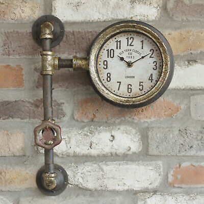 Metal Industrial Antique Rustic Warehouse Factory Station Pipe Wall Art Clock B