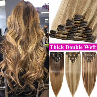 Extra Thick Double Weft Clip In Remy Human Hair Extensions Full Head Blonde 170g