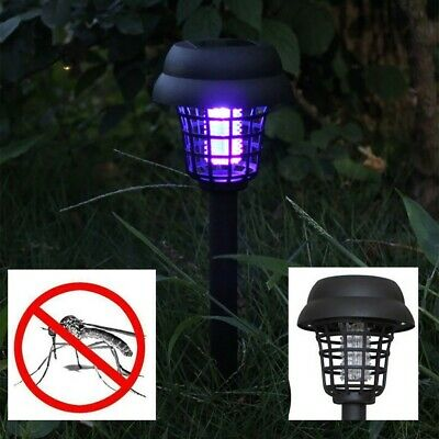 2PC Powered Solar LED Lampara Mosquito Pest Bug Zapper Insect Killer Lamp Garden