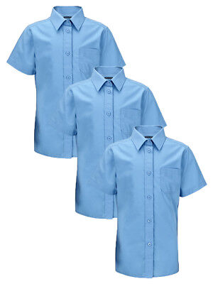 Bnwt  Pack Of 3 Unisex Boys/ Girls Blue School Short Sleeve Shirt Age 7-8 Years
