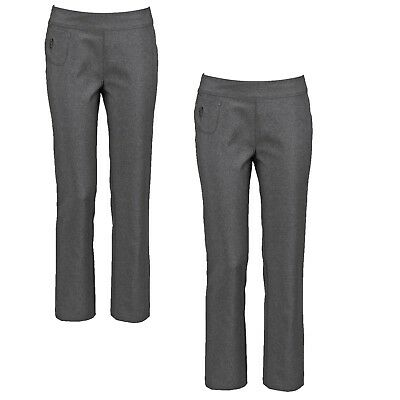 Bnwt Girls Grey 2 Pack  Of 2 Pair School Trousers Age 11-12 Years Flower Pocket