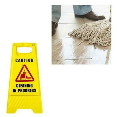 CAUTION Sign Cleaning in Progress Yellow Warning Cone Hazard Safety Wet Floor