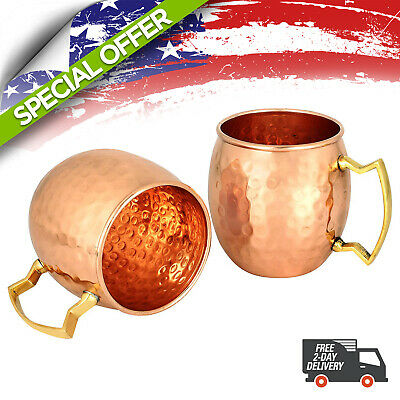 16 Oz Handmade Hammered 2 Pack 100% Pure Copper Moscow Mule Mugs Drinking Cup